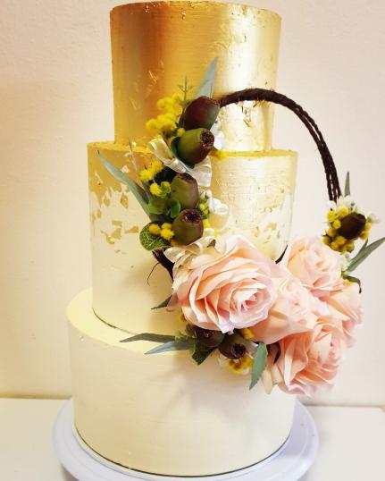 3 tier gold leaf wedding cake