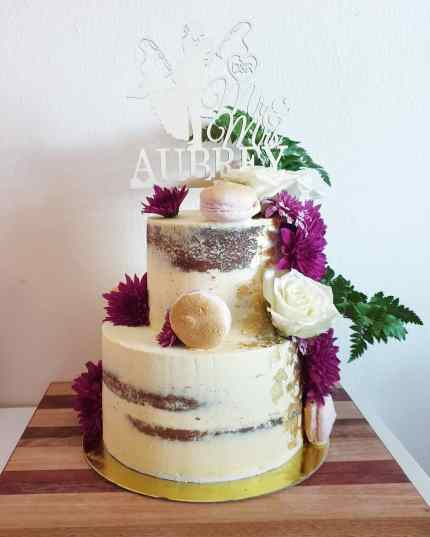 two tier semi naked wedding cake